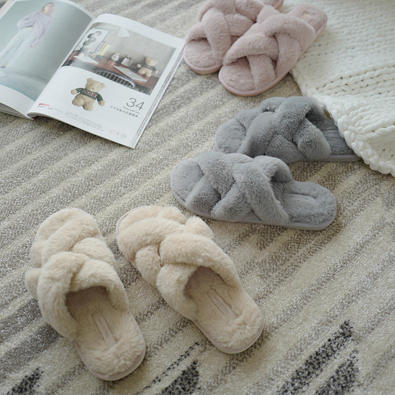 House Women's Cross Band Slippers Sandals Soft Plush Flip Flop Open Toe Flats Ladies Cozy Fluffy Slip On Fuzzy Slides