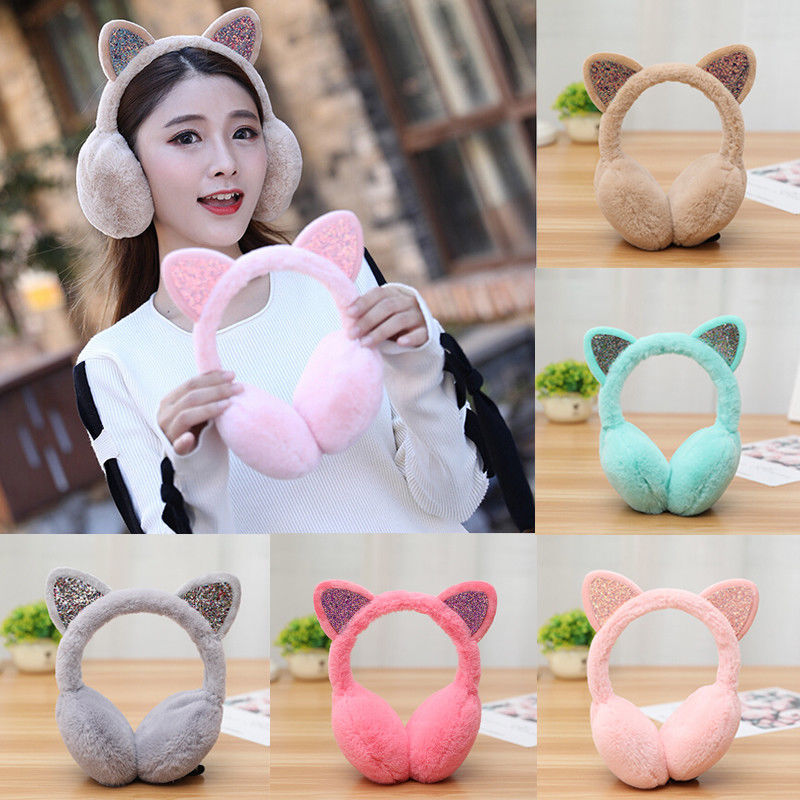 Winter Fashion Fur Ear Earmuffs Women Ladies Girls Cute Faux Soft Fluffy Novelty Cat Warm Ear Muffs