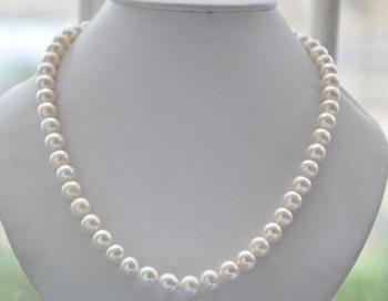 """Charming 10mm ROUND white Freshwater cultured PEARL NECKLACE 18inch 36"""" Yellow Clasp"""