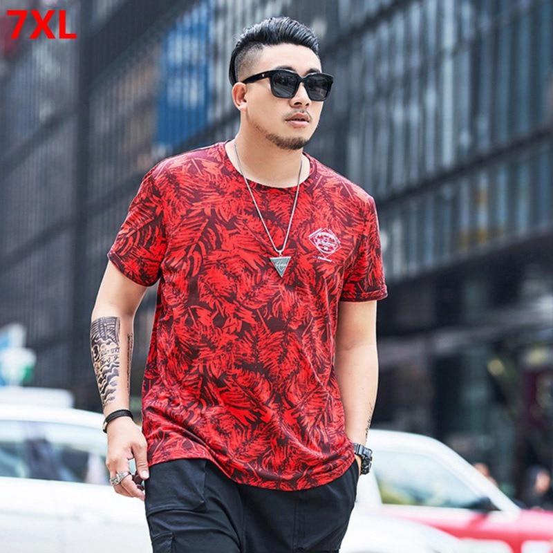 Summer tide man plus size men's trend fashion red T-shirt 6XLcasual printing short-sleeved T-shirt 7XL