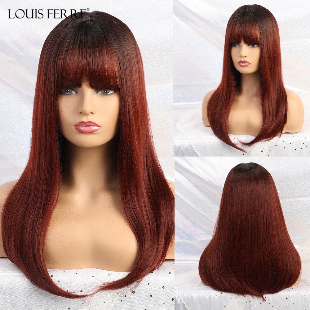 Парик из черного, винного или красного цвета с Луи Ферре, прямой синтетический парик с челкой для чернокожих женщин, афро косплей, термостой...