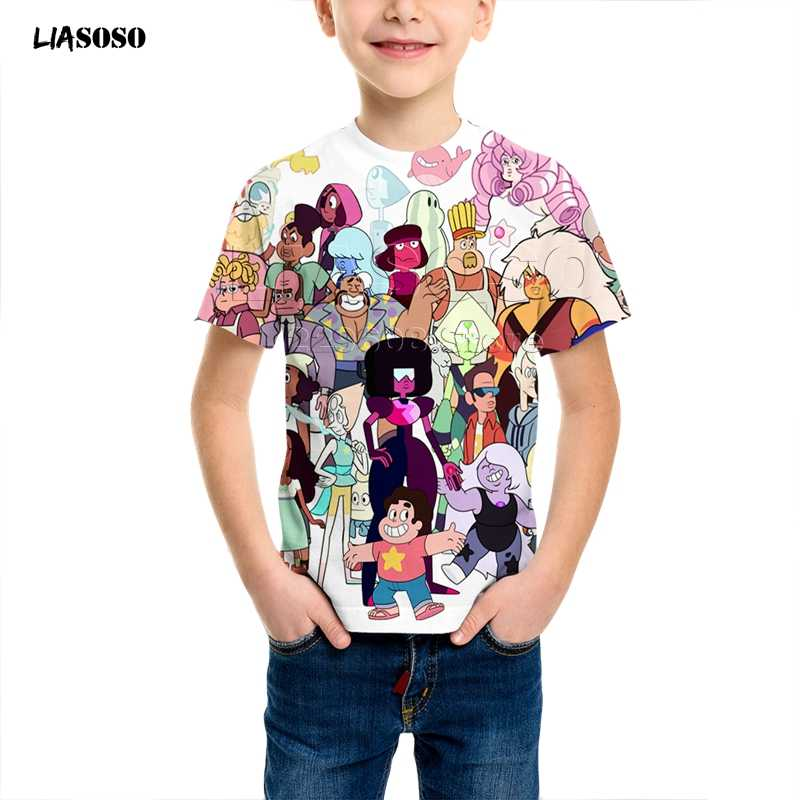Baru Anak Pakaian 3D Cetak Kartun Anime Steven Alam Semesta T Shirt Anak-anak Sweatshirt Anak Laki-laki Gadis Steven Alam Semesta Lengan Pendek