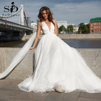 SoDigne 2021 Boho Wedding Dresses Sexy Backless V Neck Lace Appliques Dot Beach Bridal Gowns Backless Vintage Wedding Gown sodigne tulle wedding dresses a line lace appliques bridal gowns sexy v neck sleeveless backless wedding gown robe de mariee