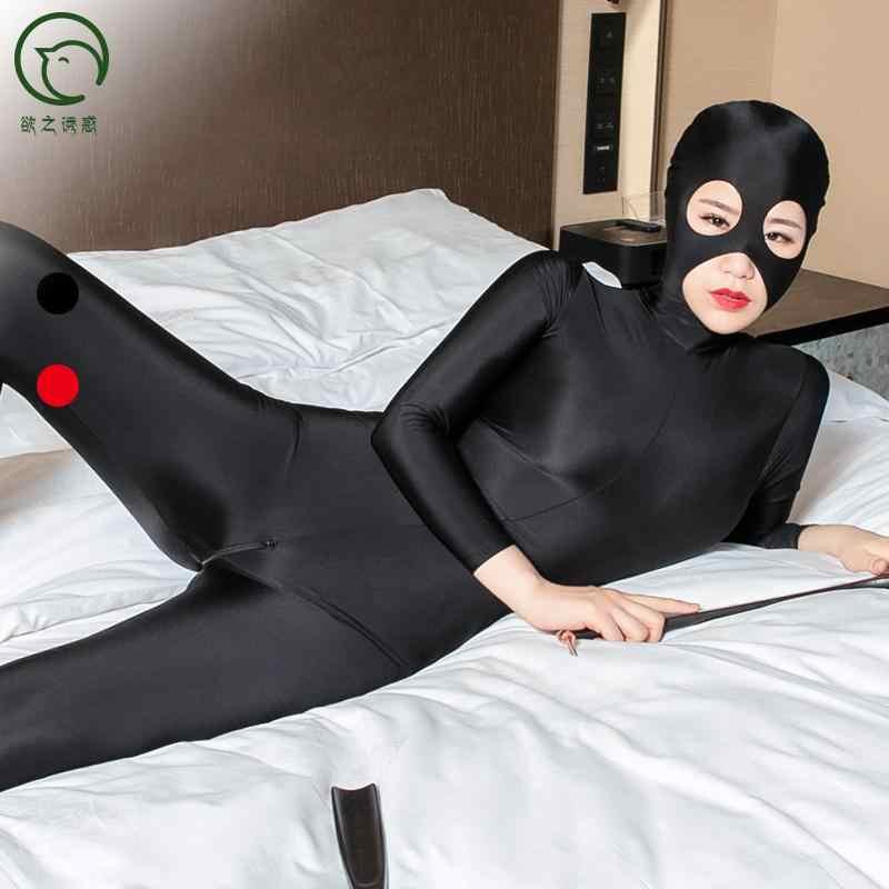 Plus rozmiar oleju błyszczący zamaskowany pełny płaszcz Zentai jednoczęściowy rajstopy Cosplay Bodystocking seksowny gorący erotyczny zamek otwarte krocza body
