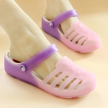 Girls Purple Eva Shoes Women Summer Breathable Non-Slip Sandals Slip-On Jelly Thickness Woman Mules