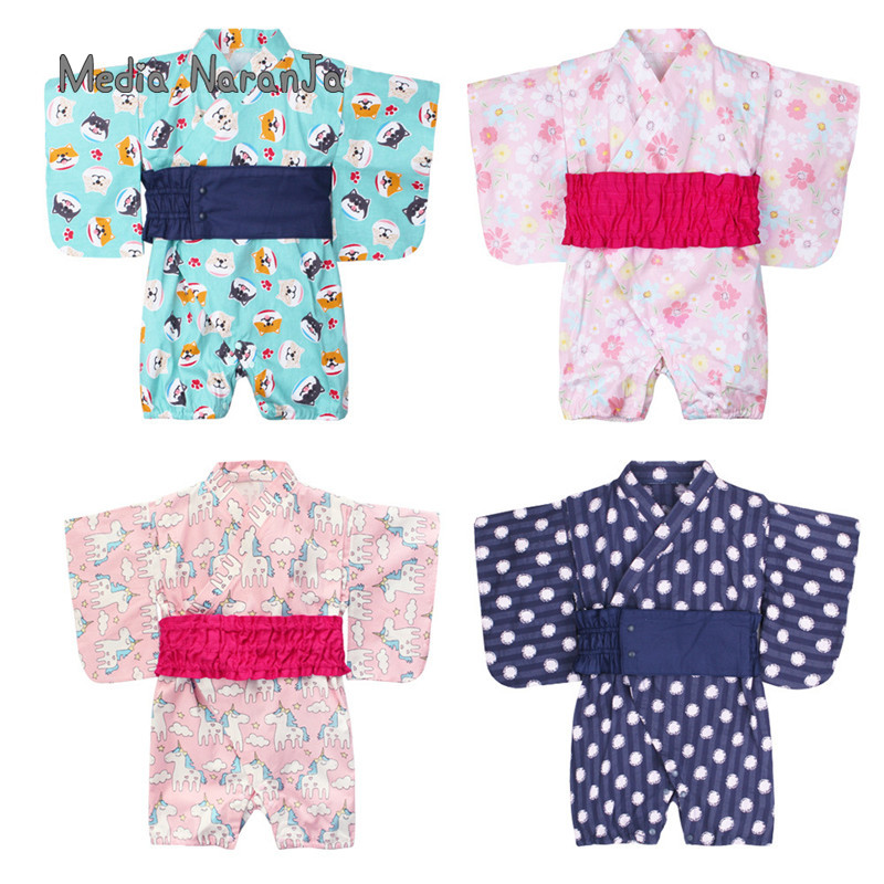 Summer 2019 new style body-clothing baby girls Japanese-style dress with attached-waist seal infant toddler sleeping clothes