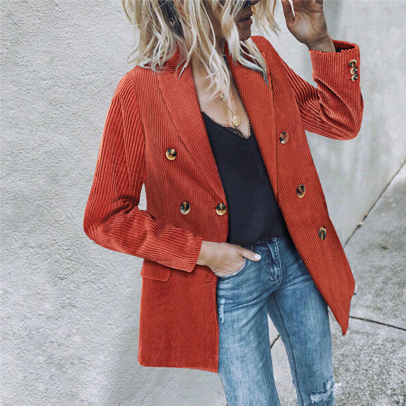Vintage Women Corduroy Blazer Coats Double Breasted Outerwear Long Sleeve Lapel Coats 2020 Spring Autumn Lady Career Formal Suit