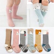 Bebê joelho highs anti derrapante meias do bebê recém-nascido meninas meninos da criança meias tubo longo raposa gato animal infantil meias de algodão crianças