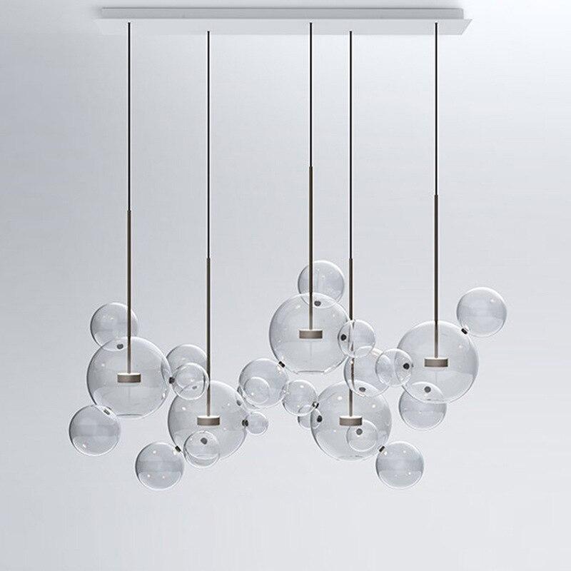 LED Postmodern Iron Glass Bubbles Golden Chandelier Lighting Chandelier LED Lamp LED Light For Dinning Room Foyer