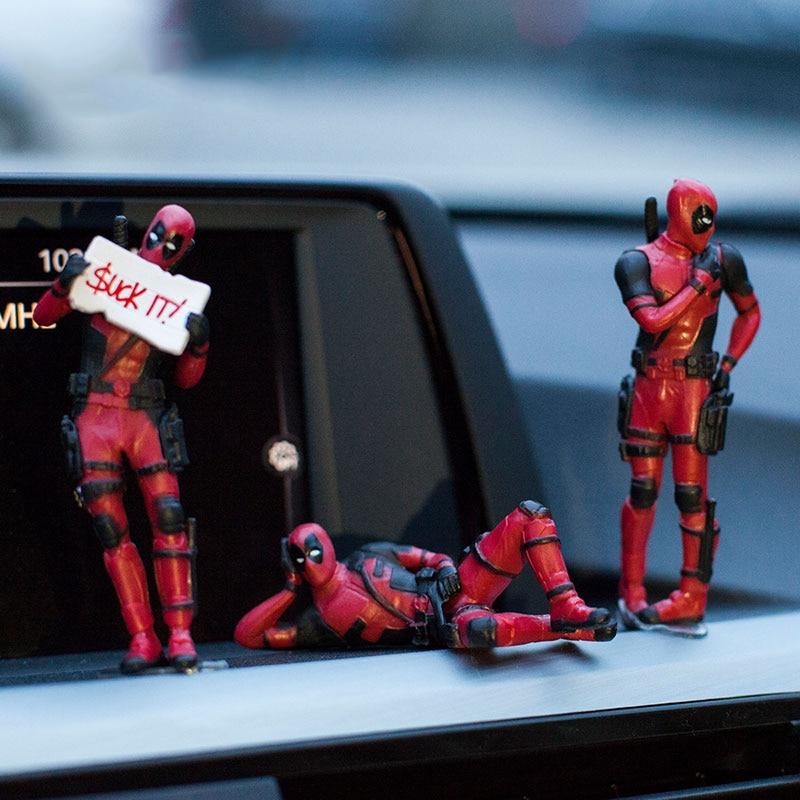 Marvel X-Men Deadpool Personality Car Ornament Action Figure Sitting Model Car Interior Decoration Car Accessories Interior