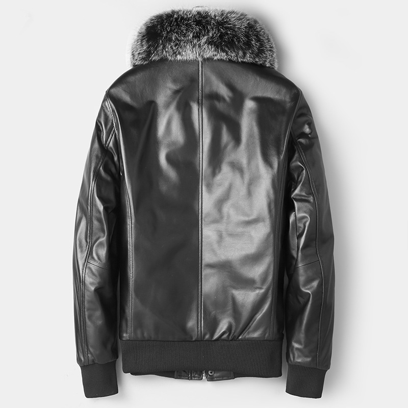 Genuine Leather Men's Down Jacket Fox Fur Collar Short Real Sheepskin Coat Autumn Winter Jackets Leren Jas Heren 81Z1805