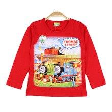 Футболка с длинными рукавами для мальчиков; сезон осень; стиль; детская одежда для мальчиков; пальто из хлопка; Базовая рубашка с рисунком Томаса; одежда в западном стиле