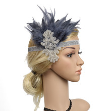 Headpiece Feather Flapper Headband Great Gatsby Headdress Vintage Prom woman hair accessories flapper headpiece diadema plumas
