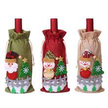 Рождество Санта Клаус Снеговик бутылки вина крышка кухня украшение на год Рождество ужин вечеринка