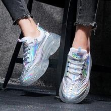Fashion Sneakers Women Shoes New Women Vulcanize Shoes 2019 Platform Shoes Women Flats Female Chunky Sneakers Walking Shoes