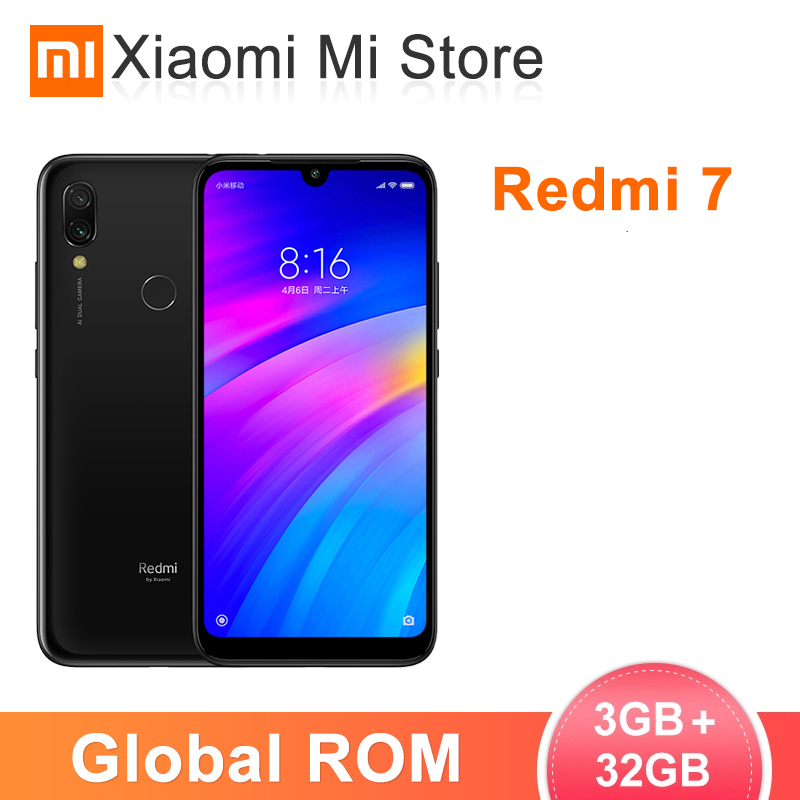 Global ROM Xiaomi Redmi 7 3GB RAM 32GB ROM Smartphone Snapdragon 632 Octa Core 4000mAh 6.26'' Full Screen 12+2MP Dual Camers