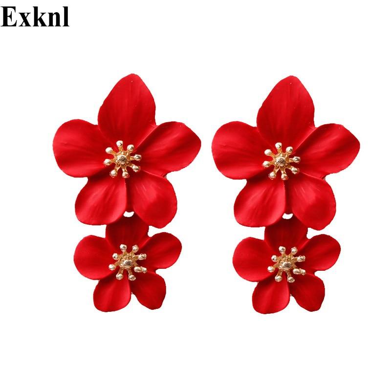 Exknl Party Vintage double Flower Drop Earrings for Women 2020 Wedding Dangle Bohemian Fashion Long Jewelry Earrings Women New