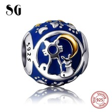 100% 925 sterling silver cat moon star heart Enamel Charms Beads Fit Original Pandora Bracelet Jewelry Making for women gift
