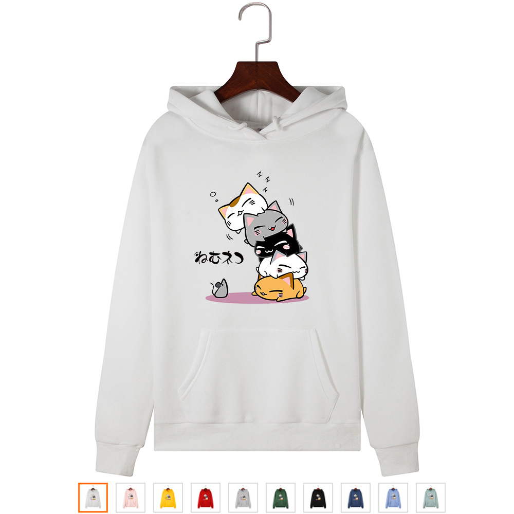 Women Hoodies Pullover Kawaii Cat Hoodies Plus Size Autumn Hooded Sweatshirt Warm Fashion Streetwear Winter Cute Cartoon Hoddies