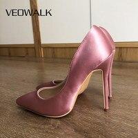 Veowalk-zapatos de tacón alto de aguja para mujer, calzado Sexy de seda satinada con punta puntiaguda, elegantes, para boda, sin cordones, color rosa