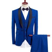 3-piece Suits Fashion New Men Casual Boutique Pack/Male Color Adjustment Crack Blazer Jacket Broek vest Set