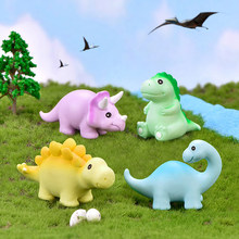 Cute Dragon Dinosaur Triceratops Animal Little Model Small Figurine Crafts DIY Desk Ornament Statue Decoration Toy Garden(China)