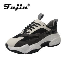 Fujin Platform Sneakers Women 2019 Summer Ins Thick Bottom Breathable Fashion Lace Round Toe Shallow Leisure Shoes