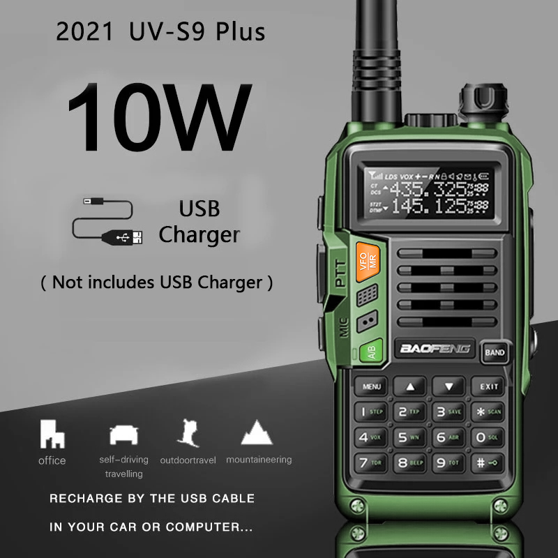 2021 NEW BaoFeng UV-S9 Plus Powerful Walkie Talkie CB Radio Transceiver 10W 50 KM Long Range Portable For hunt forest upgrade