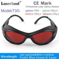 T3g 190-540nm 800-1100 uv 청색 녹색 ir 레이저 보호용 고글 안전 안경 ce od4 + od5 +