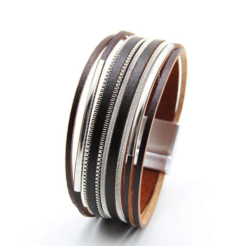 ファッション新黄銅管多層レザーブレスレットレディース磁気バックルホット販売