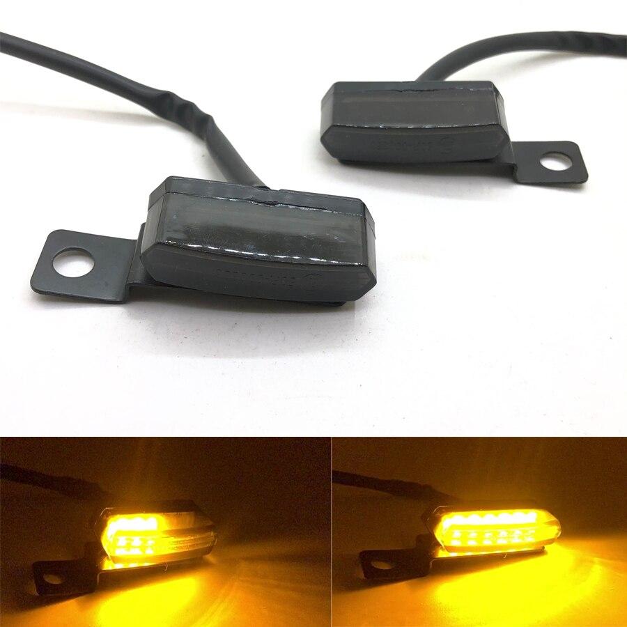 Pair Mini LED Turn Signal Indicator Light Flowing Universal Motorcycle Motorbike