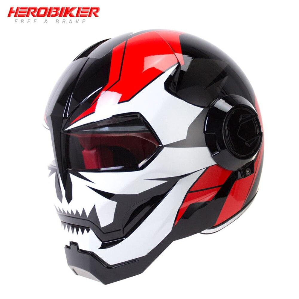 HEROBIKER Moto Cara Cheia Capacete de Moto Casco do Capacete Da Motocicleta Chopper Cruiser Cafe Racer Retro Capacetes de Equitação