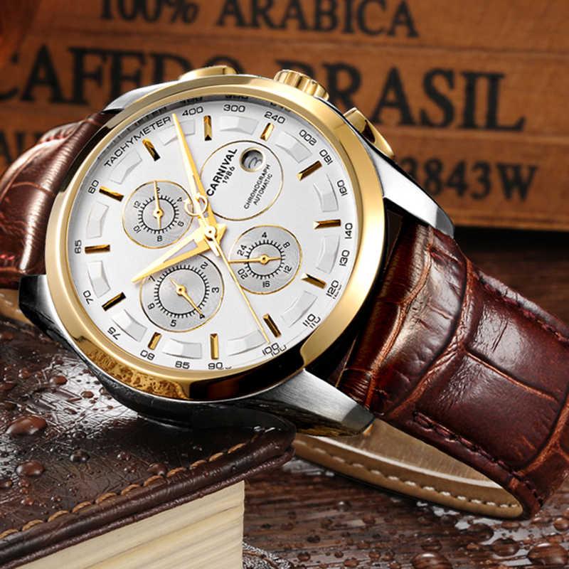 Otomatik mekanik karnaval marka erkekler kol saatleri moda lüks deri kayış izle su geçirmez safir saat relogio reloj