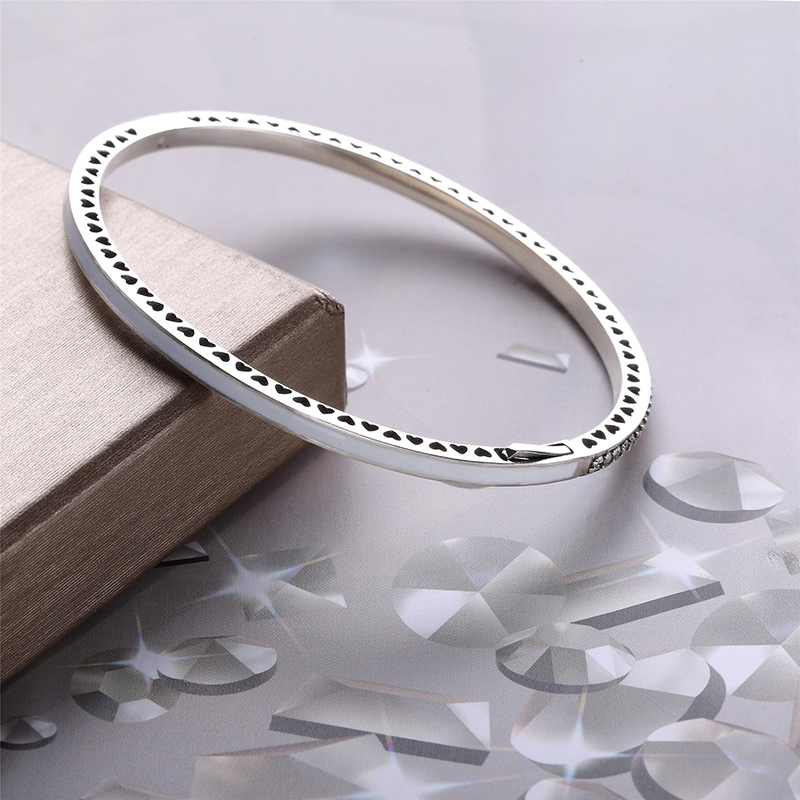 Real 925 Sterling Silver <font><b>Pan</b></font> Enamel Radiant Hearts With Cubic Zirconia <font><b>Bracelet</b></font> Bangle Fit Women Bead <font><b>Charm</b></font> <font><b>Pan</b></font> <font><b>Bracelet</b></font> Jewelry image