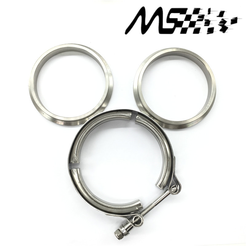 """V-BAND KIT 2.5/"""" 63.5MM HiGH QUALITY CLAMP TURBO WASTEGATE EXHUAST FLANGES"""