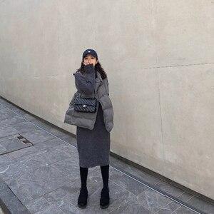 Image 4 - גולף קשמיר סרוג סוודר שמלת נשים סתיו אביב אטריות אלסטי ארוך שרוול עבה סוודר חורף שמלה