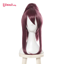 L email wig Game LOL K/DA Akali Cosplay Wigs KDA Cosplay Long Purple Ponytail Wig Halloween Heat Resistant Synthetic Hair