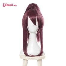 Парик для косплея LOL K/DA Akali L email, парики для косплея KDA, Длинный фиолетовый парик для конского хвоста, термостойкие синтетические волосы для Хэллоуина