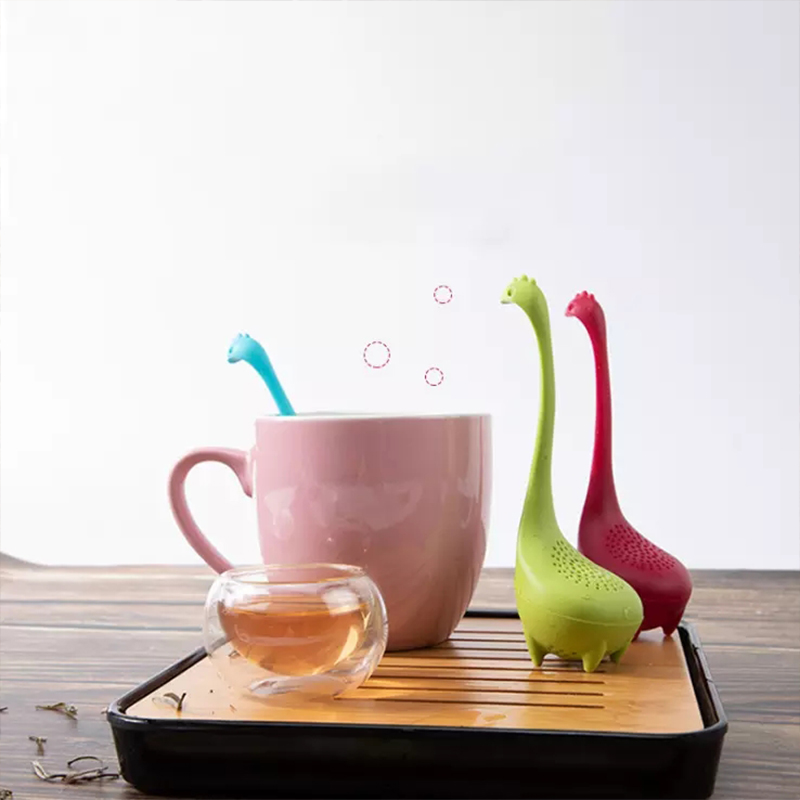 Silicone Handle Tea Infuser Strainer Filter Loose Tea Steeper Dinosaur Loose Leaf Tea Infusers with Long Handle SiliconeStrainer