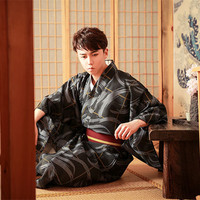 Traditional Japan Kimono Yukata Men's polyester Dressing Gown Male Lounge Robes with Belt Summer Pajamas