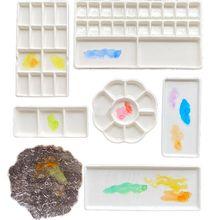 Paleta de aquarela cerâmica multi-célula pintura em aquarela paleta de porcelana branca pintura profissional suprimentos de cerâmica
