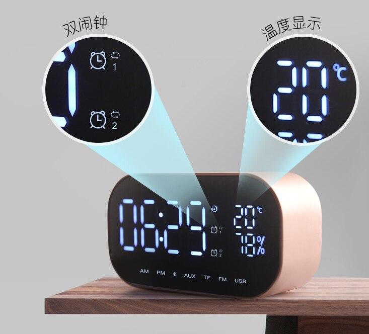 LED アラーム時計 fm ラジオワイヤレス Bluetooth スピーカーミラーディスプレイサポート Aux TF USB 音楽プレーヤーワイヤレスオフィスホーム