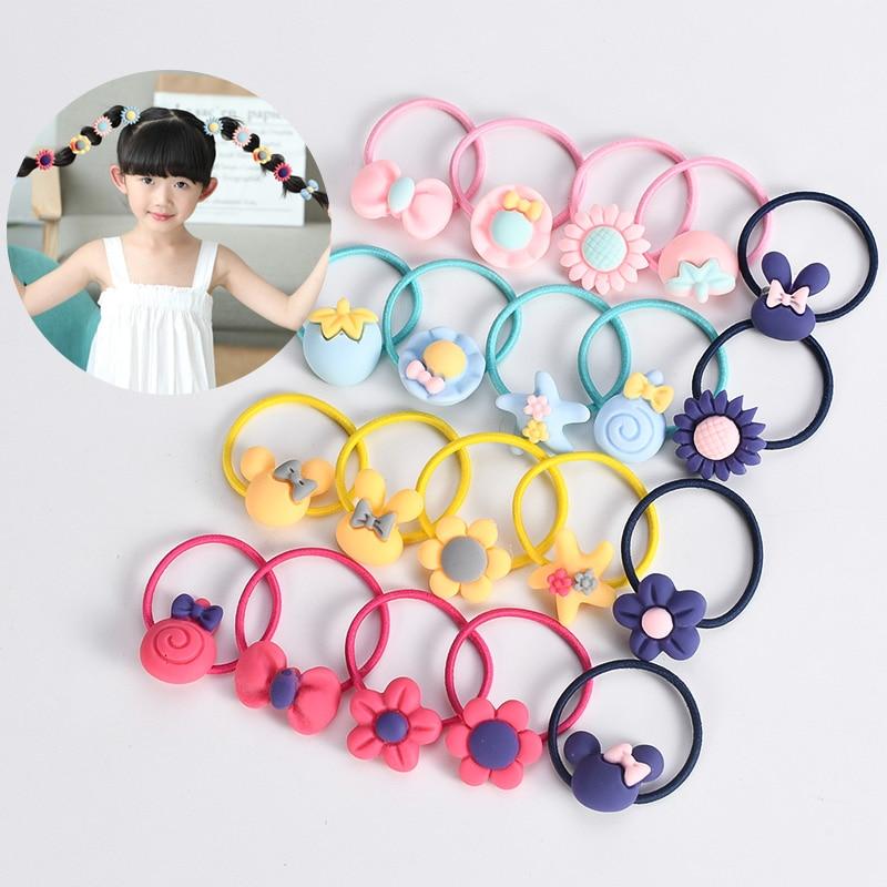 20pcs/set Cute Cartoon Girl Hair Rope Hair Ring Colorful Elastic Hair Rubber Band Children's Headwear Tied Rope Hair Accessories