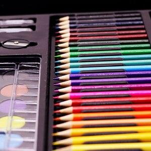 Image 3 - 168 adet/takım sanat seti petrol Pastel mum boya renkli kalemler işaretleme kalemleri suluboya boya boyama çizim seti noel hediyesi çocuklar için