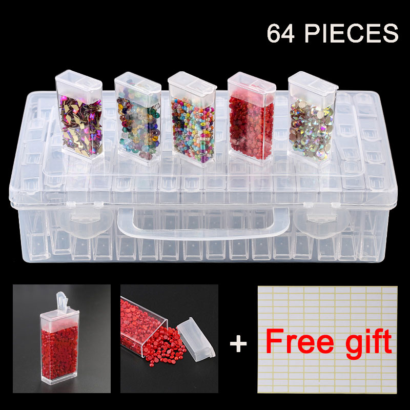 Plastic Container Storage Box Diamond Painting Accessories With Bottles Diamant Painting Box Holder Jewelry Rectangle Box Case