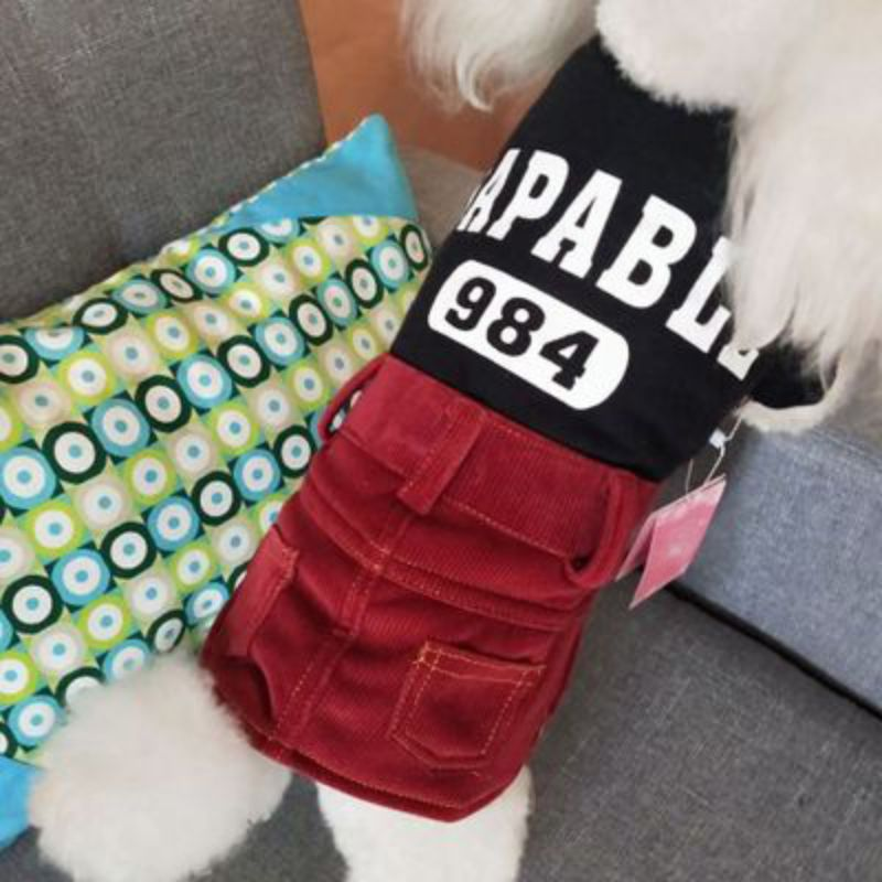Pet <font><b>Dog</b></font> <font><b>Dress</b></font> <font><b>Winter</b></font> Warm Corduroy Material Comfortable Soft Fashion Cute Print Exquisite Simple And Elegant Three-Dimensional image
