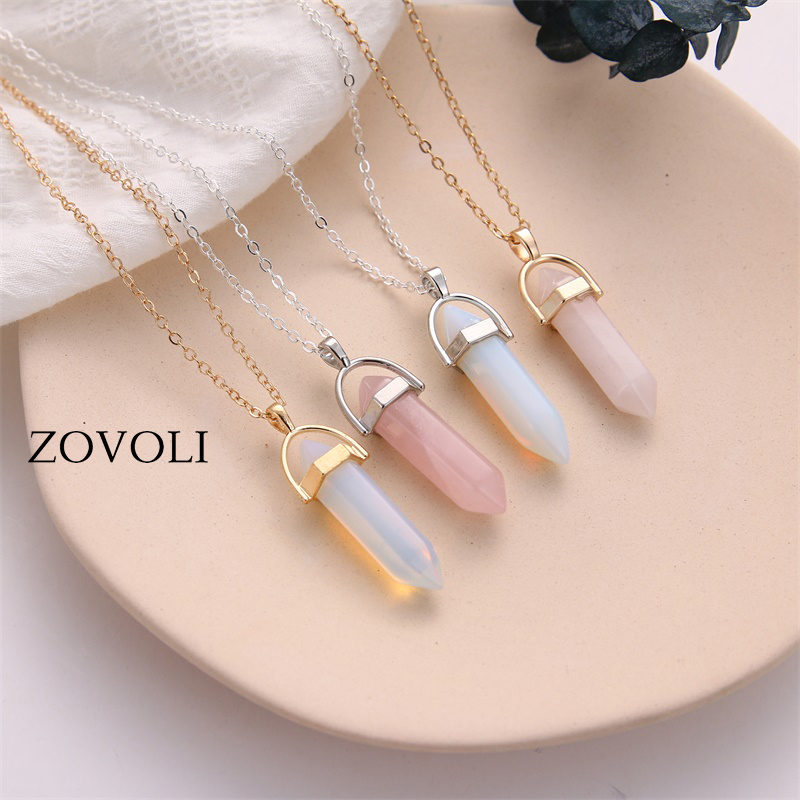 ZOVOLI Hexagon Crystal Pendant Necklace Women Jewelry Opal Natural Stone Pendants Long Chains Chokers Necklaces For Women