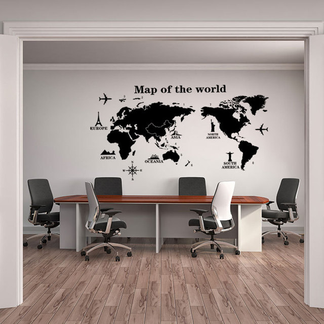Map of The World Wall Stickers DIY Vinyl Wall Decals for Kids Room Maps Wallpapers Home Decor Black World Maps Home Decoration 4