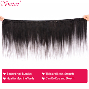 Image 2 - Satai Straight Hair 3 Bundles With Closure 100% Human Hair Bundles With Closure Brazilian Hair Bundles With Lace Closure NonRemy
