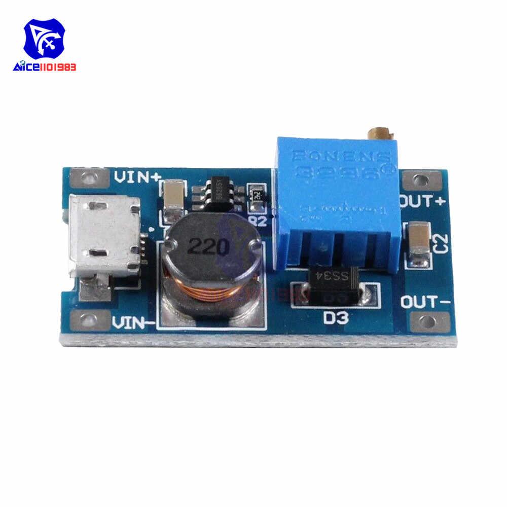 MT3608 DC-DC 2-24V a 5-28V 6V 12V 24V 2A Boost Step up Converter Module con Interfaccia Micro USB Regolabile 3296 Potenziometro